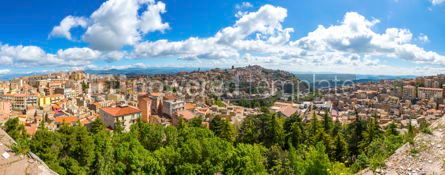 Architecture : Panoramic aerial view of Enna old town Sicily Italy #03407