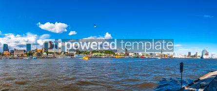 Architecture : Panoramic view of Hamburg harbour Germany #03409
