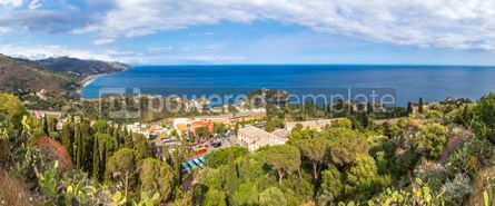 Nature: Panoramic aerial view of Ionian sea coast Sicily Italy #03412