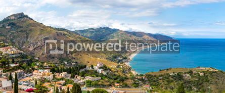 Nature: Panoramic aerial view of Ionian sea coast Sicily Italy #03413