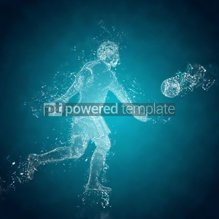 Abstract: Abstract soccer goalkeeper kicks the ball. Crystal ice effect #03419