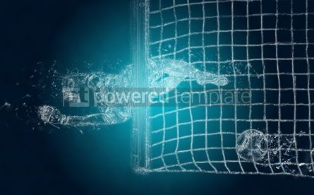 Abstract: Abstract soccer goalkeeper misses a ball. Crystal ice effect #03423
