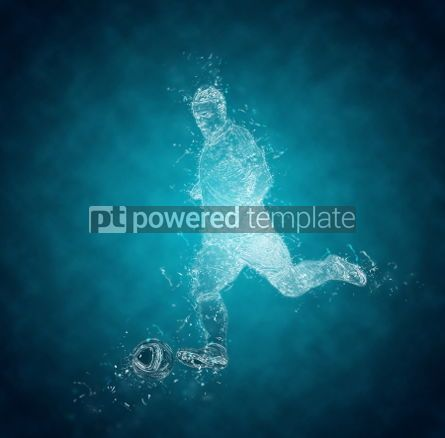 Abstract: Abstract football player kicks the ball. Crystal ice effect #03424