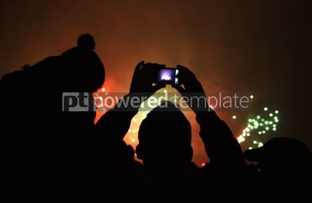 Holidays: People watch the New Year's Fireworks #03448