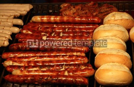 Food & Drink: Traditional fresh german sausages grilled on wire rack outdoor #03456