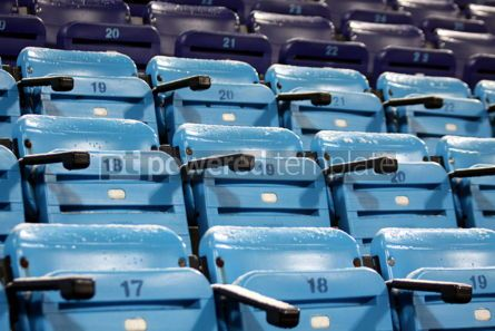Architecture: Blue empty seats on the stadium #03480