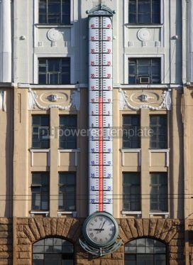 Architecture : Facade of building with giant outdoor thermometer #03523