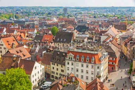 Architecture : Aerial view of Konstanz city (Germany) and Town of Kreuzlingen ( #03526