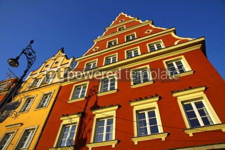 Architecture : Colourful buildings on the market square in Wroclaw city Poland #03536