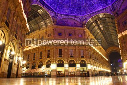 Architecture: Galleria Vittorio Emanuele shopping Center in night. Milan Ital #03547