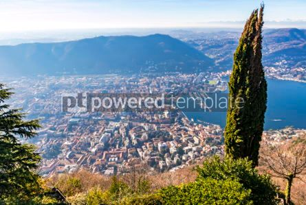 Architecture : Aerial view of City of Como on Lake Como Italy #03553