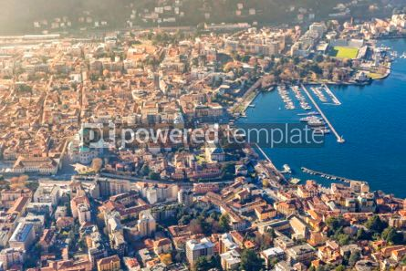 Architecture : Aerial view of City of Como on Lake Como Italy #03554