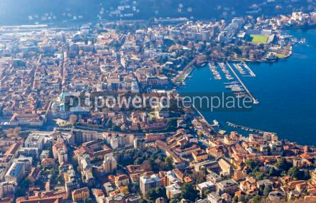 Architecture : Aerial view of City of Como on Lake Como Italy #03555