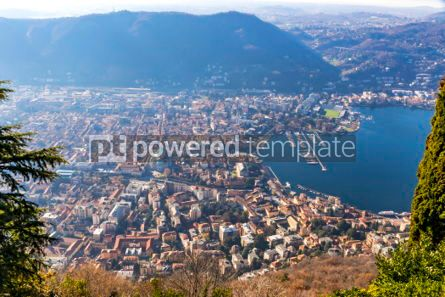 Architecture : Aerial view of City of Como on Lake Como Italy #03556