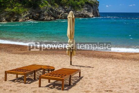 Nature: Empty beach with two chairs Queen's Beach Montenegro #03577