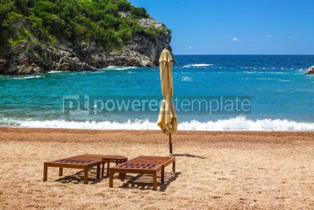 Nature: Empty beach with two chairs Queen's Beach Montenegro #03578