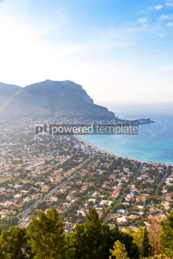 Nature: Panoramic aerial view of Mondello beach Palermo Sicily Italy #03692