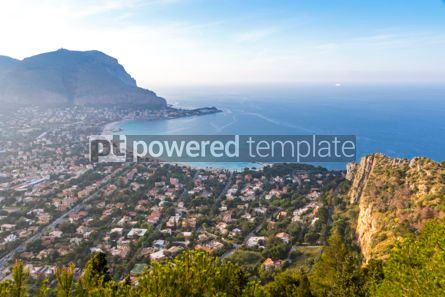 Nature: Panoramic aerial view of Mondello beach Palermo Sicily Italy #03693