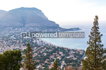 Nature: Panoramic aerial view of Mondello beach Palermo Sicily Italy #03694