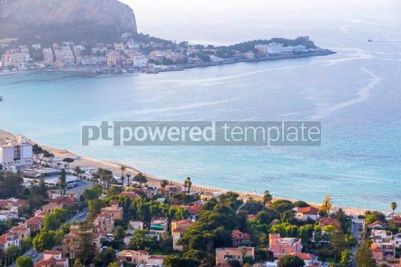 Nature: Panoramic aerial view of Mondello beach Palermo Sicily Italy #03695