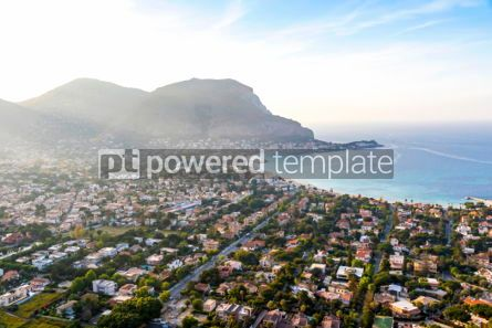 Nature: Panoramic aerial view of Mondello beach Palermo Sicily Italy #03696