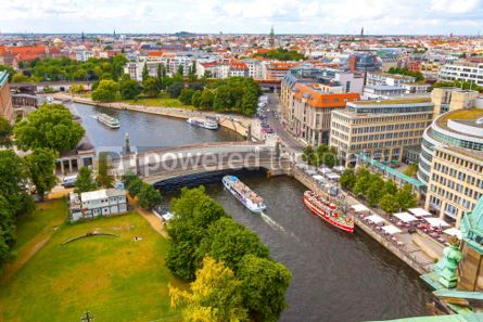 Architecture : Aerial view of Spree River in Berlin city Germany #03709