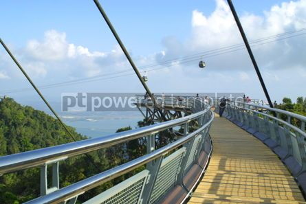 Architecture : Curved suspension bridge on Langkawi island #03715