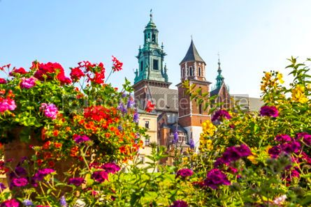 Architecture : Summer view of Wawel Royal Castle complex in Krakow Poland #03718
