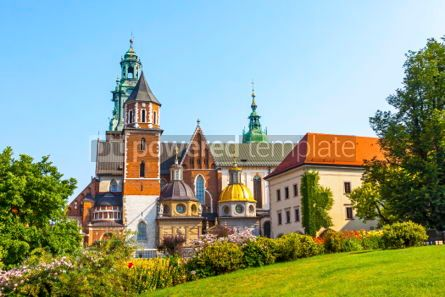 Architecture: Picturesque view of Wawel Royal Castle complex in Krakow Poland #03719