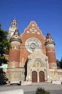 Architecture: Facade of St Johannes Church in Malmo Sweden #03726