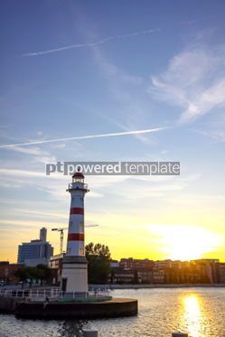 Architecture : Old lighthouse in Oresund strait Malmo city harbor Sweden #03732