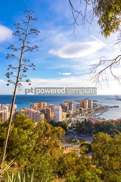 Architecture : Skyline aerial view of Malaga city Andalusia Spain #03741