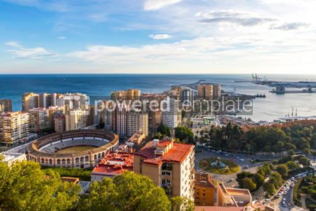 Architecture : Skyline aerial view of Malaga city Andalusia Spain #03742