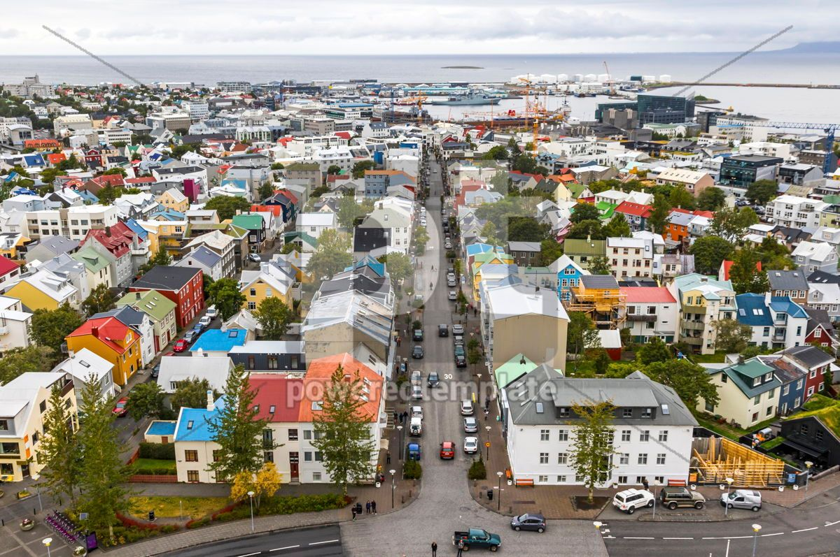 Aerial view of Reykjavik city Iceland, 03745, Architecture  — PoweredTemplate.com