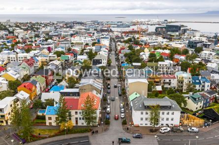 Architecture : Aerial view of Reykjavik city Iceland #03745