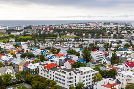 Architecture : Aerial view of Reykjavik city Iceland #03747