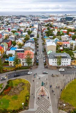 Architecture : Aerial view of Reykjavik city Iceland #03748