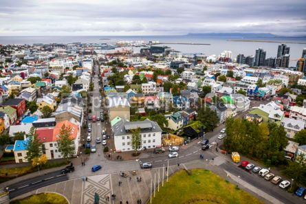 Architecture : Aerial view of Reykjavik city Iceland #03749