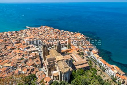 Architecture : Aerial view of Cefalu old town Sicily Italy #03752