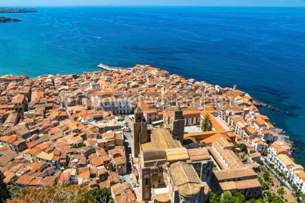 Architecture : Aerial view of Cefalu old town Sicily Italy #03753