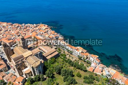 Architecture : Aerial view of Cefalu old town Sicily Italy #03754