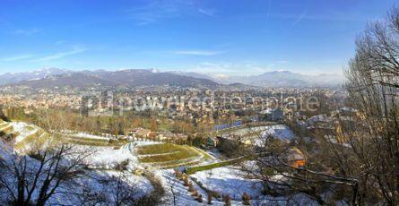 Architecture : Panoramic view of Bergamo city Italy #03758