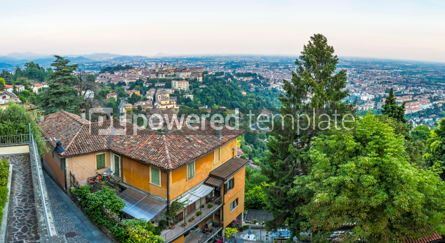 Architecture : Panoramic summer view of Bergamo city Lombardy Italy #03759