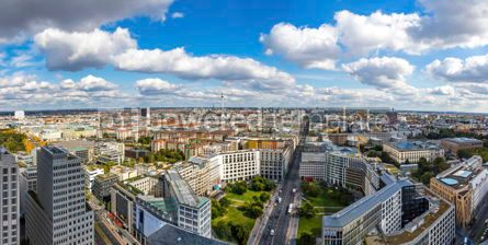 Architecture : Panoramic skyline aerial view of Berlin city center Germany #03760