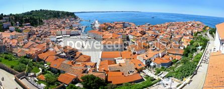Architecture : Panoramic view of Piran old town Slovenia #03762