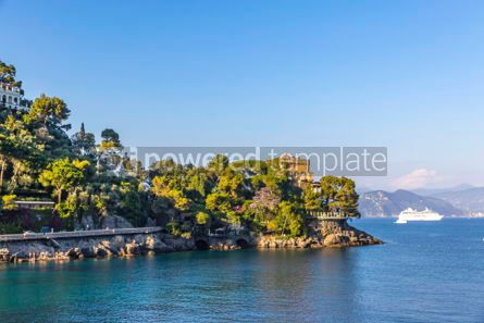 Architecture : Beautiful view of the Bay of Paraggi in Santa Margherita Ligure #03791