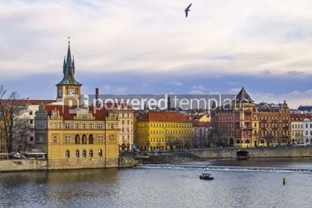 Architecture : Winter view of Vltava river in Prague Czech Republic #03811