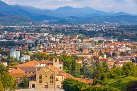 Architecture : Aerial view of Bergamo city Lombardy Italy #03813