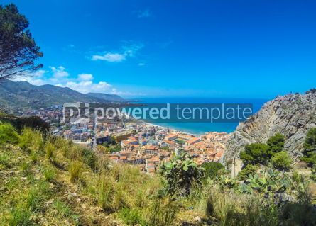 Architecture : Panoramic aerial view of Cefalu city Sicily Italy #03838