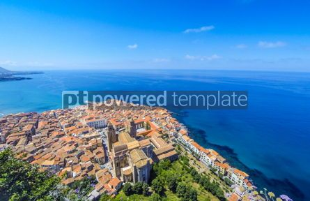 Architecture : Panoramic aerial view of Cefalu old town Sicily Italy #03839